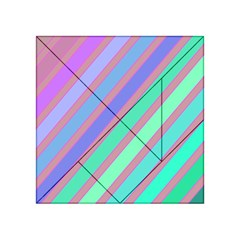 Pastel colorful lines Acrylic Tangram Puzzle (4  x 4 )