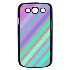 Pastel colorful lines Samsung Galaxy S III Case (Black)