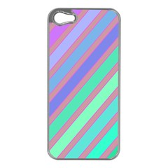 Pastel colorful lines Apple iPhone 5 Case (Silver)