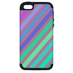 Pastel colorful lines Apple iPhone 5 Hardshell Case (PC+Silicone)