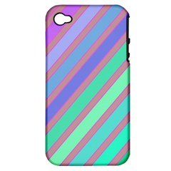 Pastel colorful lines Apple iPhone 4/4S Hardshell Case (PC+Silicone)