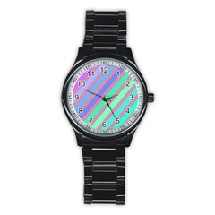 Pastel colorful lines Stainless Steel Round Watch