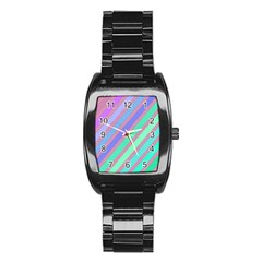 Pastel colorful lines Stainless Steel Barrel Watch