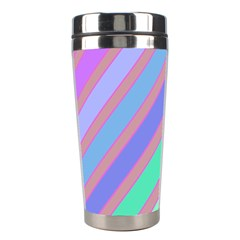 Pastel colorful lines Stainless Steel Travel Tumblers