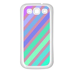 Pastel colorful lines Samsung Galaxy S3 Back Case (White)