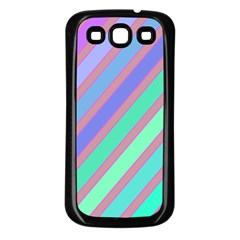Pastel colorful lines Samsung Galaxy S3 Back Case (Black)