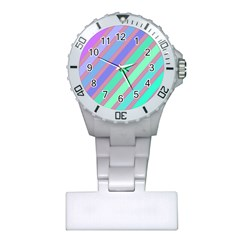 Pastel colorful lines Plastic Nurses Watch