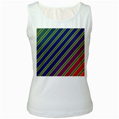 Decorative lines Women s White Tank Top