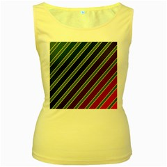 Decorative lines Women s Yellow Tank Top