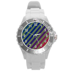 Decorative lines Round Plastic Sport Watch (L)