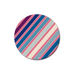 Colorful Lines Rubber Coaster (round)