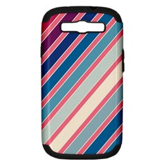 Colorful lines Samsung Galaxy S III Hardshell Case (PC+Silicone)