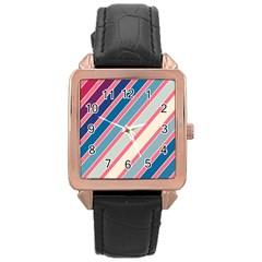 Colorful lines Rose Gold Leather Watch