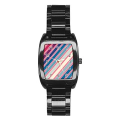 Colorful lines Stainless Steel Barrel Watch