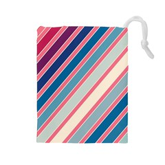 Colorful lines Drawstring Pouches (Large)