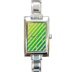 Green and yellow lines Rectangle Italian Charm Watch