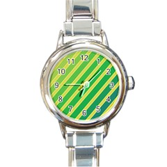 Green and yellow lines Round Italian Charm Watch