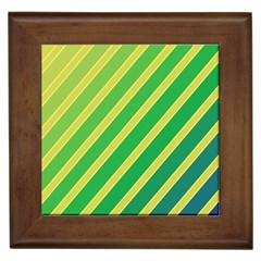 Green and yellow lines Framed Tiles