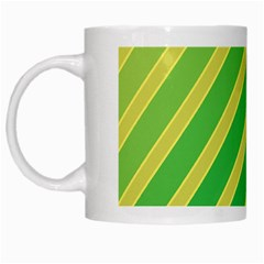 Green and yellow lines White Mugs