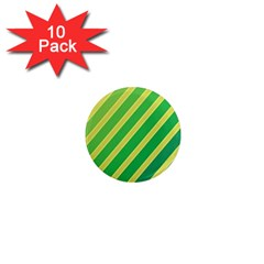 Green and yellow lines 1  Mini Magnet (10 pack)