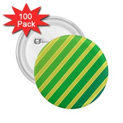 Green and yellow lines 2.25  Buttons (100 pack)