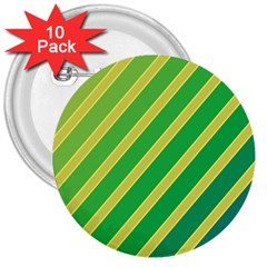 Green and yellow lines 3  Buttons (10 pack)