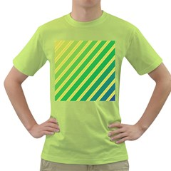Green and yellow lines Green T-Shirt