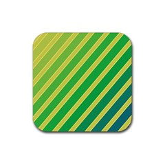 Green and yellow lines Rubber Square Coaster (4 pack)