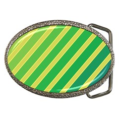 Green and yellow lines Belt Buckles