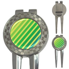 Green and yellow lines 3-in-1 Golf Divots