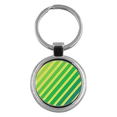 Green and yellow lines Key Chains (Round)