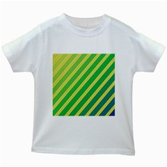 Green and yellow lines Kids White T-Shirts