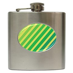 Green and yellow lines Hip Flask (6 oz)