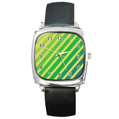 Green and yellow lines Square Metal Watch
