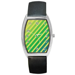 Green and yellow lines Barrel Style Metal Watch