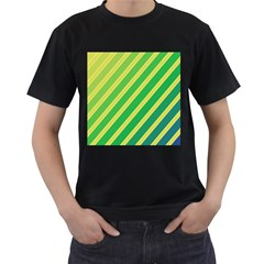 Green and yellow lines Men s T-Shirt (Black) (Two Sided)