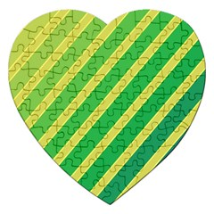 Green and yellow lines Jigsaw Puzzle (Heart)