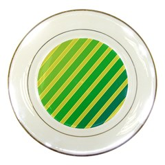 Green and yellow lines Porcelain Plates