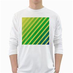 Green and yellow lines White Long Sleeve T-Shirts