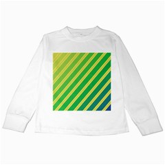 Green and yellow lines Kids Long Sleeve T-Shirts
