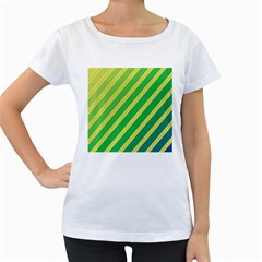 Green and yellow lines Women s Loose-Fit T-Shirt (White)