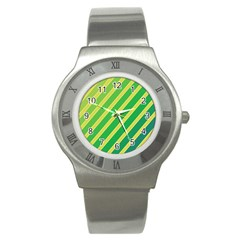 Green and yellow lines Stainless Steel Watch