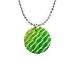 Green and yellow lines Button Necklaces
