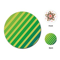 Green and yellow lines Playing Cards (Round)