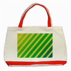 Green and yellow lines Classic Tote Bag (Red)