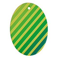 Green and yellow lines Oval Ornament (Two Sides)
