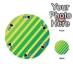 Green and yellow lines Playing Cards 54 (Round)