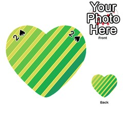 Green and yellow lines Playing Cards 54 (Heart)