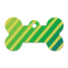 Green and yellow lines Dog Tag Bone (Two Sides)