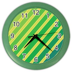Green and yellow lines Color Wall Clocks